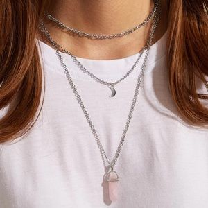 🆕3/$30 Light Pink Crystal & Moon Necklace